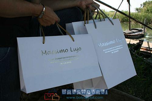 bolsas de lujo en papel blancas