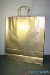 Bolsas de papel personalizadas para comercios doradas