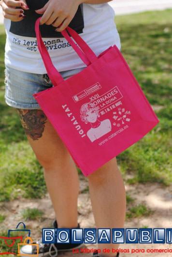 bolsas impresas de tela rosa