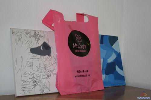 Bolsas de plastico impresas pequeñas cantidad rosa