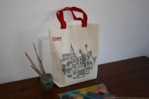 Bolsas de Tela con Logo blanca y rojo